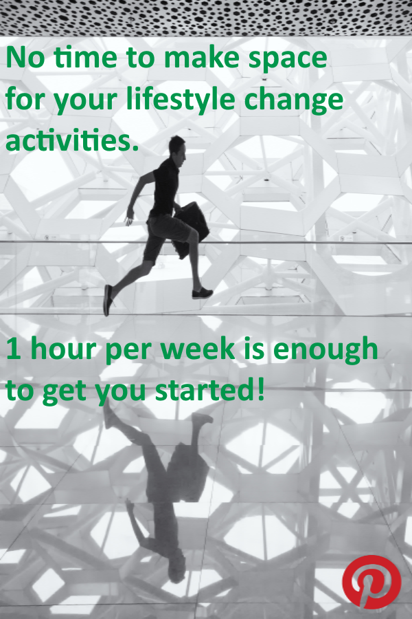 Making space for your lifestyle change activities. 1 hour per week is enough to get you started!